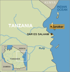 A map of tanzania with zanzibar highlighetd