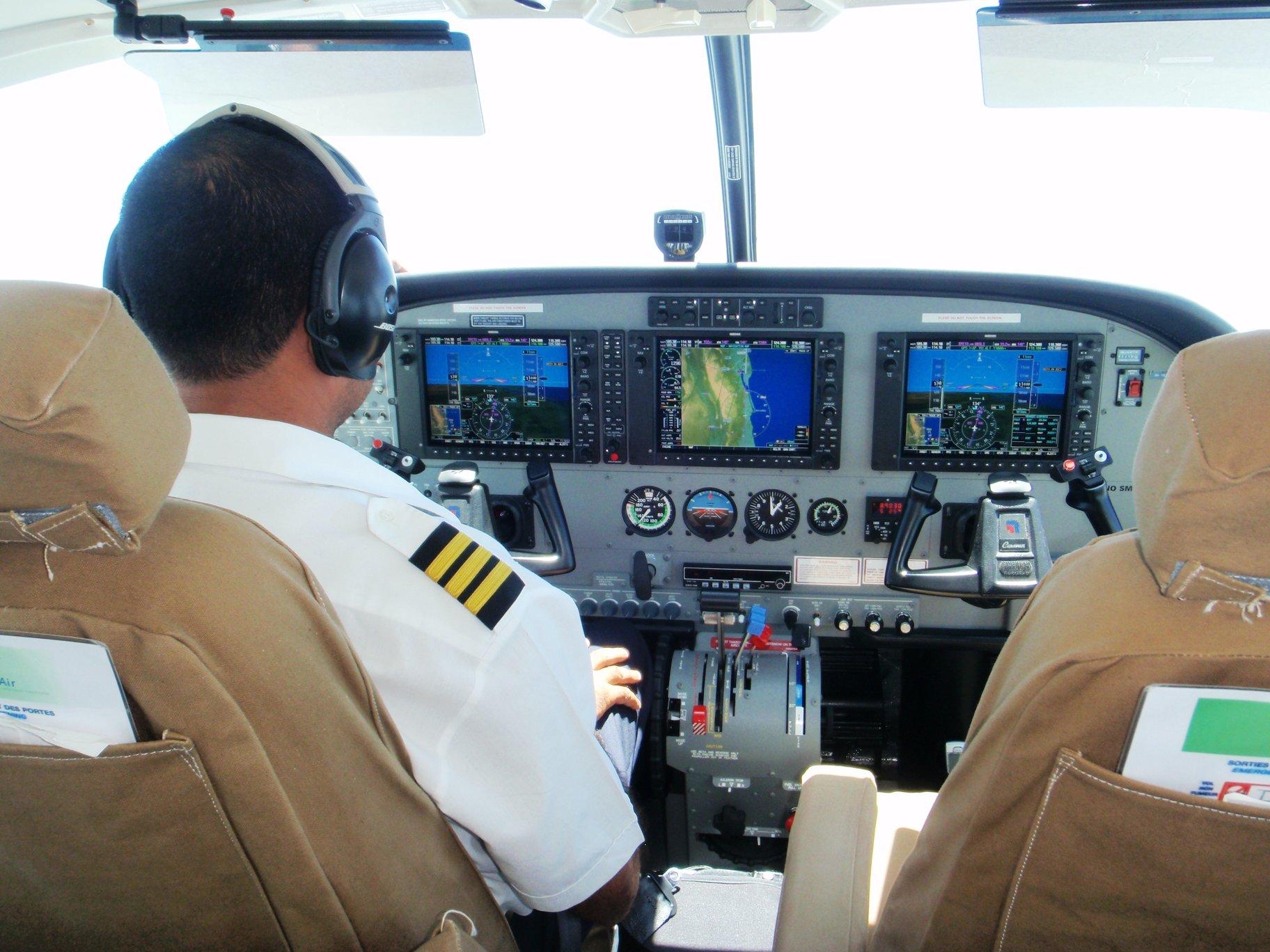 cockpit with pilot