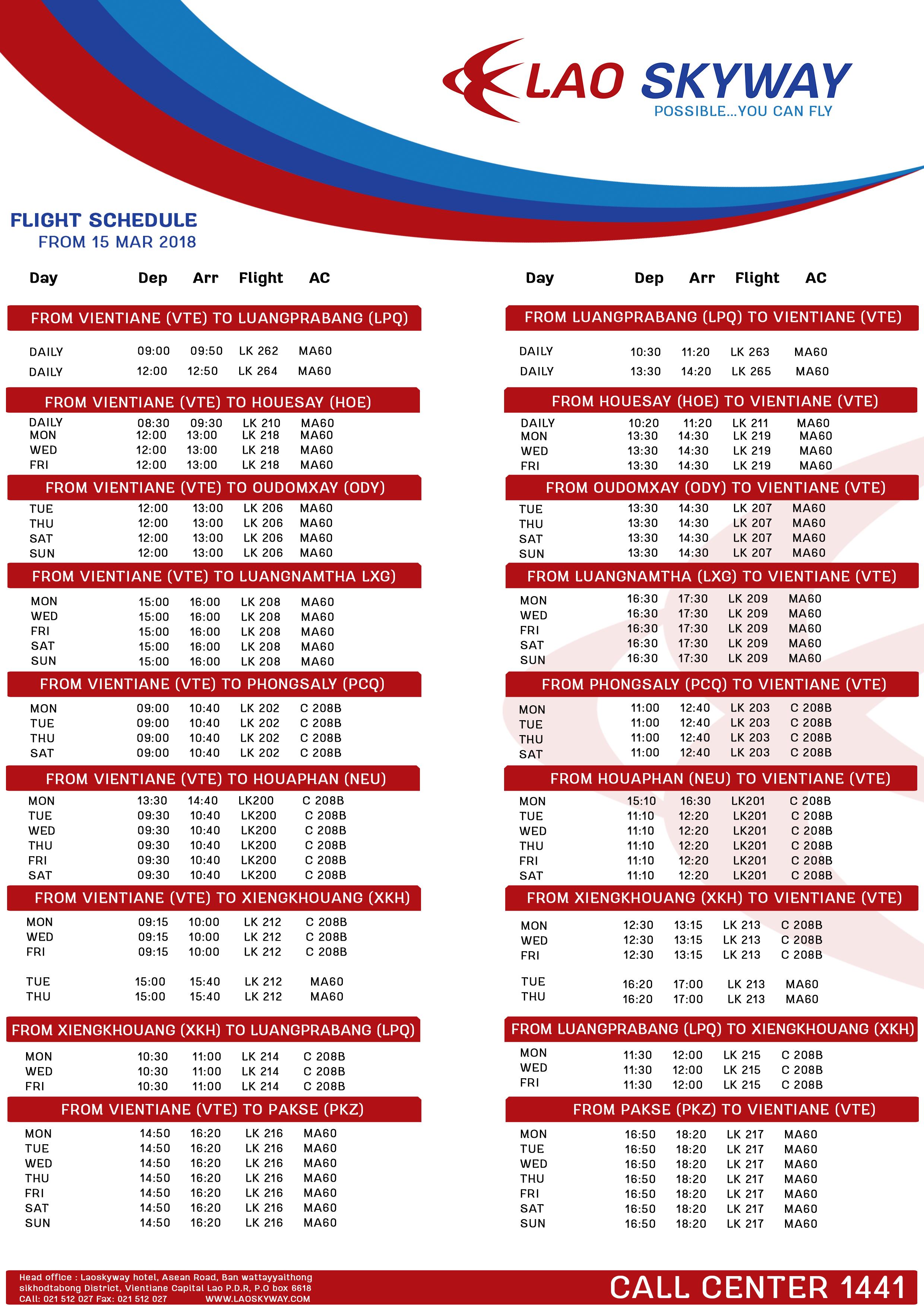 Flight scheduleupdate 19 feb 6