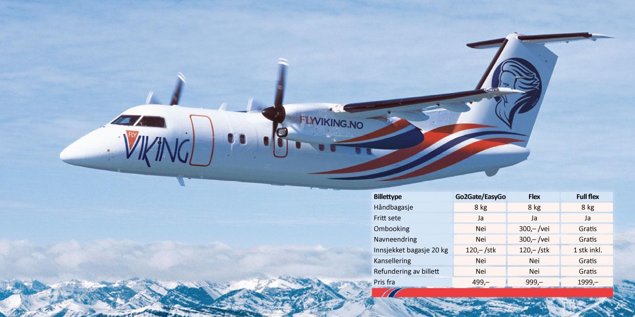 FlyViking billettpriser August 2017