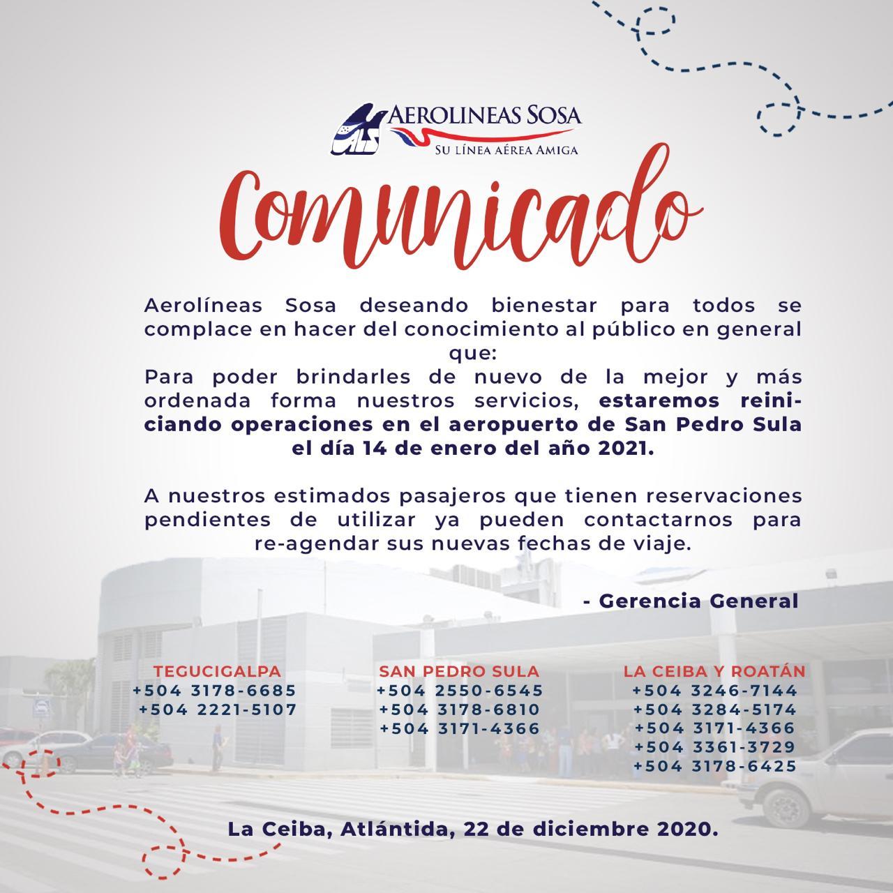 COMUNICADO REINICIO DE OPS SAP