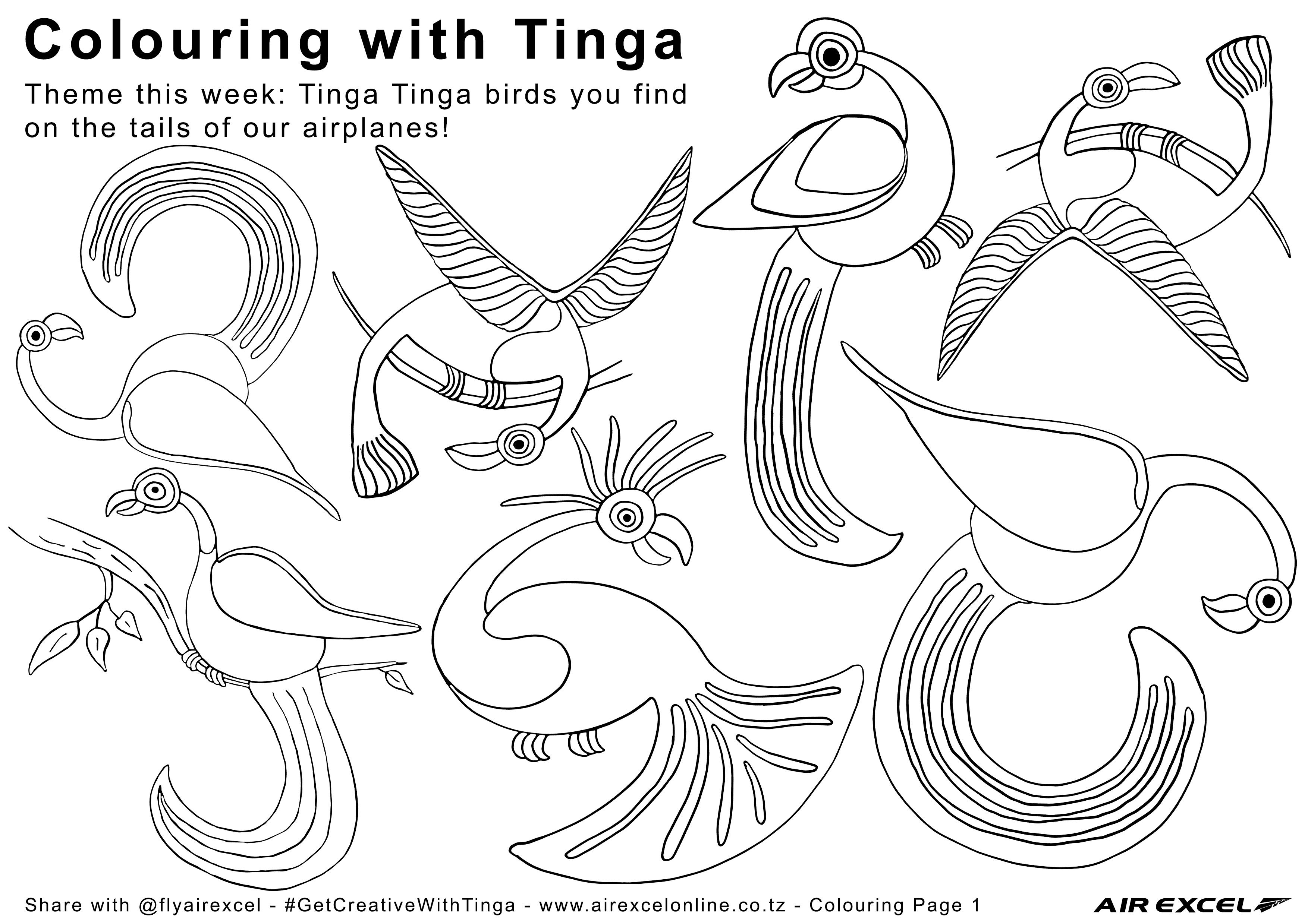 Air Excel Colouring Page 1 Tinga Tinga Birds