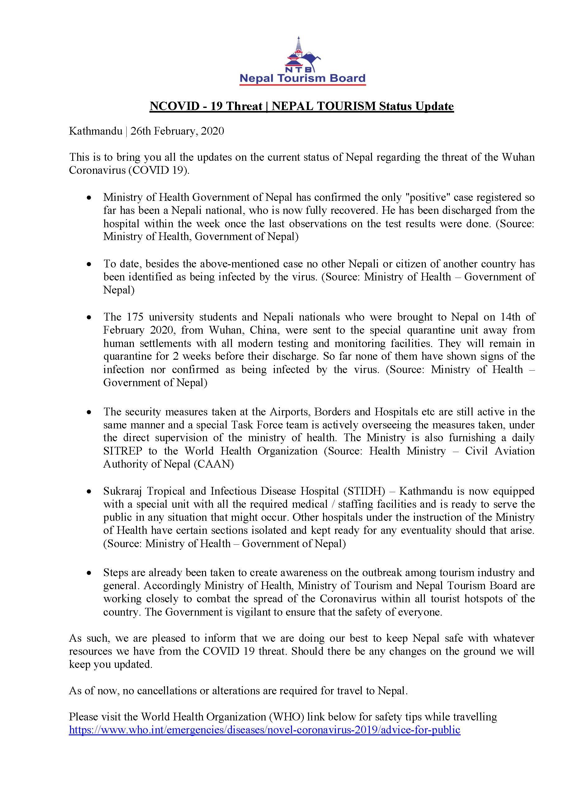 NCOVID 19 Threat Nepal Tourism Status Update 26 Feb 2020