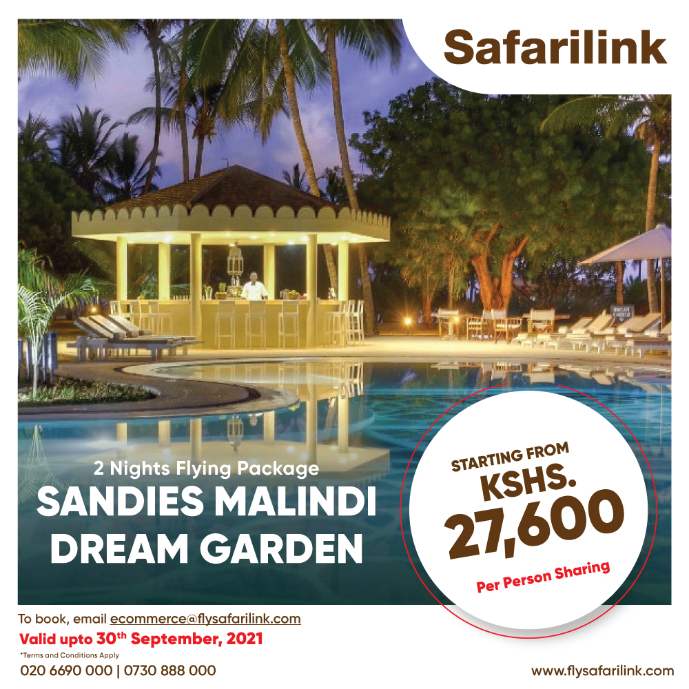 Safarilink Flying Package Sandies Malindi Dream Garden Hotel Offers