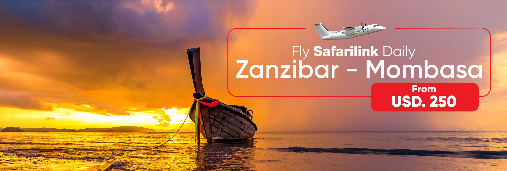 fly safarilink daily from Zanzibar Island To Mombasa