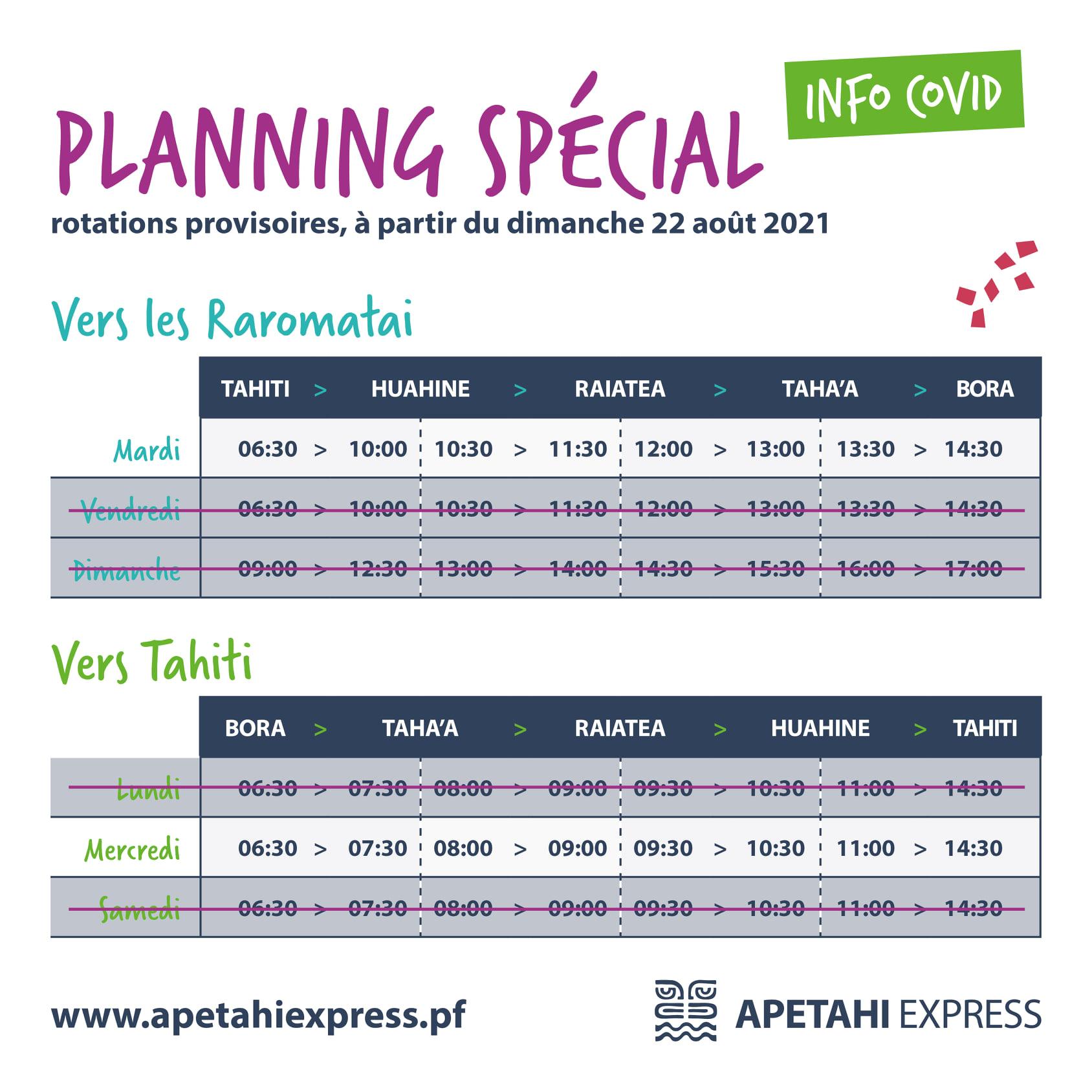 Les horaires - Apetahi Express