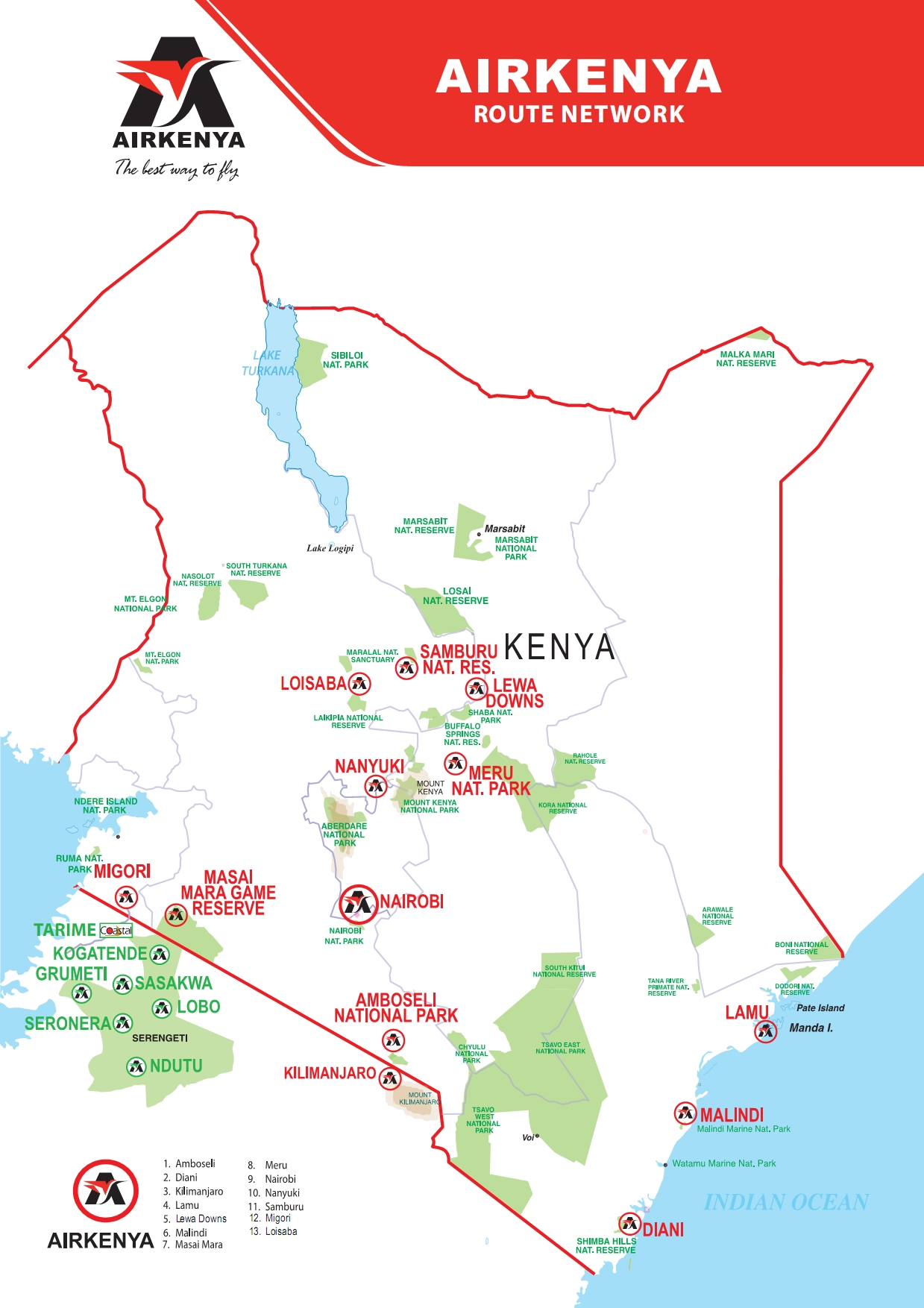 Airkenya Route Map | Domestic Flights in Kenya